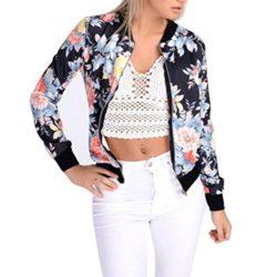 AFCastle Fetching Women Floral Print Bomber Jacket Long Sleeve Blazer Suit Casual Jacket Coat