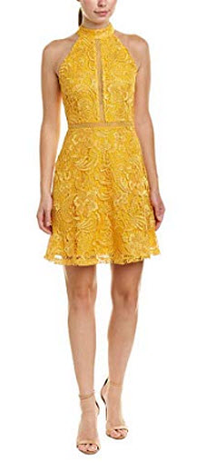 Alexia Admor Womens Mock Neck Fit & Flare Lace Dress, gold