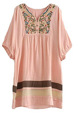 ASHER FASHION Women's Tunic V Neck Embroidered Peasant Bohemian Dress, pink