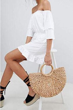 ASMAX HaoDuoYi Women's Solid White Strapless Ruffle Hem Sexy Romper