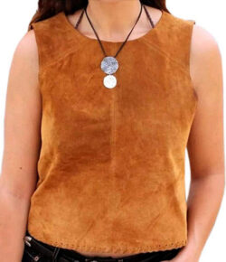 Baba Geniuse International Women's Suede Leather Western Lastest Shirt Size Small to 4XL