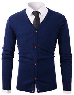 Benibos Mens Casual Slim Fit Basic Designed Button Down V-Neck Cardigan navy