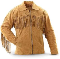 Bestzo Men's Fashion Fringed Suede Leather Jacket Brown