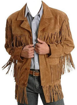 Bestzo Men's Fringed Western Classic Cow Suede Leather Coat Brown