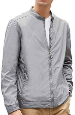 BEVERRY Men's Lightweight Casual Slim Fit Jacket Collarless Coats Zip Up Windbreaker, gray