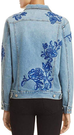 [BLANKNYC] Womens Fall Floral Embroidered Denim Jacket, blue