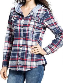 BomDeals Women's Classic Plaid Cotton Hoodie Button-up Flannel Shirt, gray