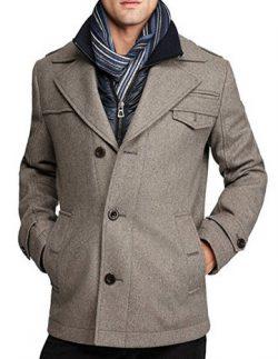 Boss Orange by Hugo Boss Men's Ofanta Wool Jacket Pea Coat-Grey.