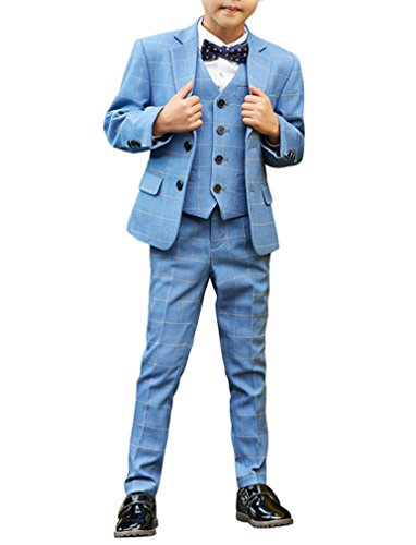 Boys Formal Tuxedo Suits 5 Pieces Jacket+Pants+Vest+Shirt+Bow Tie ...