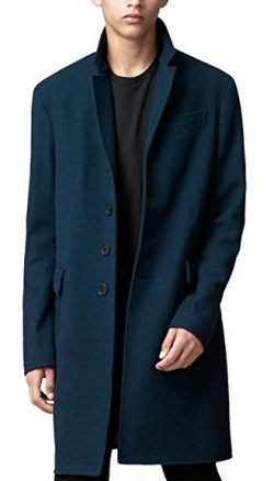 Burberry Men's Blue Wool Cashmere Melton Coat With Warmer XL .