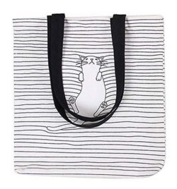 Caixia Womens Black Stripe Lazy Cat Canvas Tote Bag Beige