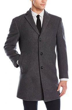 Calvin Klein Men's Prosper Solid Single Breasted Wool Blended Overcoat Extreme Fit.