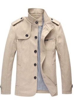 Candy-OU Men Wool Blends Coat New Winter Mens Trench Coat Clothing Male Winter Woolen Jacket Coat