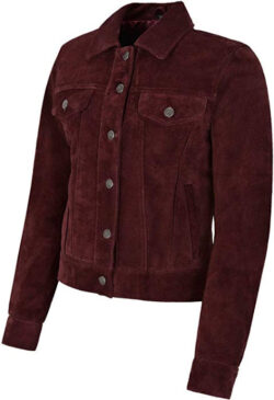 Carrie CH Hoxton Women's Trucker Real Leather Jacket 100 percent Suede Casual Fashion Shirt Jack ...