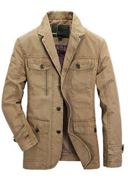 chouyatou Men's Casual Notched Collar Multi Pockets 3 Buttons Lightweight Blazer Jackets,  ...