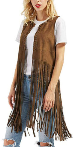 chouyatou Women's Cool String Sleeveless Faux Suede Leather Fringed Vest Waistcoat