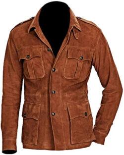 Classyak Men's Fashion 4 Pocket Suede Leather Coat