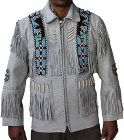 Classyak Western Leather Jacket Off-White, Quality Suede Leather, Xs-5xl
