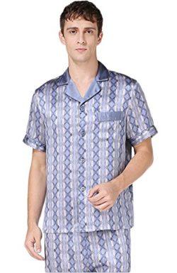 CLC Men s Pure Mulberry Silk Pajamas Set Nightshirt Sleep Set ba90c3410
