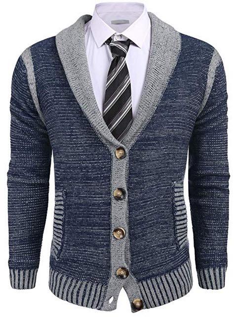 a5382e8282b4 COOFANDY Mens Slim Fit Shawl Collar Long Sleeve Merino Wool Button Down  Cardigan Sweater navy blue