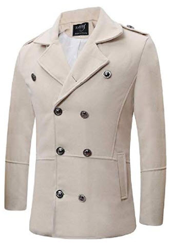 Cromoncent Men Lapel Neck Double-Breasted Winter Wool Blend Coat Jacket with Pocket