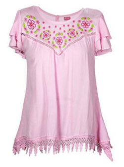 Crush Womens Woven Gauze Short Sleeve Tops (See Designs, Colors, Sizes), pink