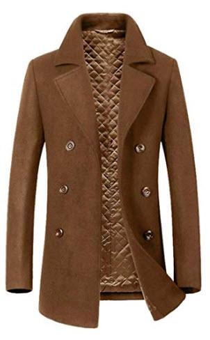 CYJ-shiba Men Winter Wool Blend Double Breasted Long Pea Coat Wool Overcoat