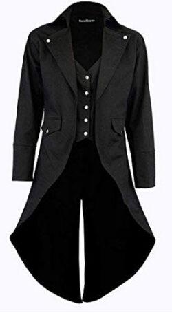 Darkrock Men's Cotton Twill Steampunk Tailcoat Jacket Goth Victorian Coat/Trench, black
