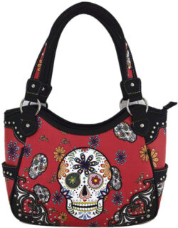 Day of The Dead Sugar Skull Purse Western Concealed Carry Handbag Shoulder Bag Cross Body Wallet ...