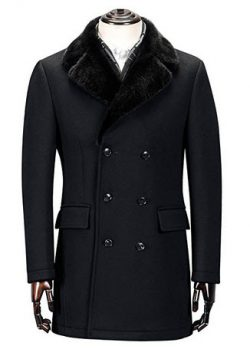 Ding Tong Men Winter Fashionable Fur Collar Padded Business Wool Peacoat.