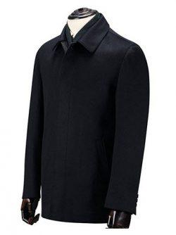 Ding Tong Men's Autumn Black Cashmere Wool Walking Coat Regular Fit Half Trench.