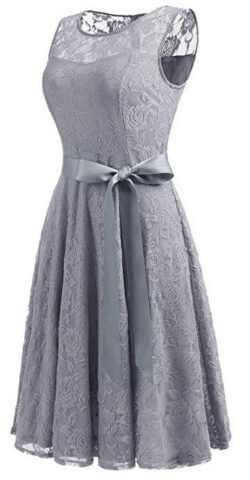 Dressystar Womens Floral Lace Dress Short Bridesmaid Dresses with Sheer Neckline grey