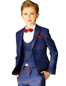 ELPA ELPA Boys Plaid Suit Set 6 Pcs Slim Fit Formal Dress