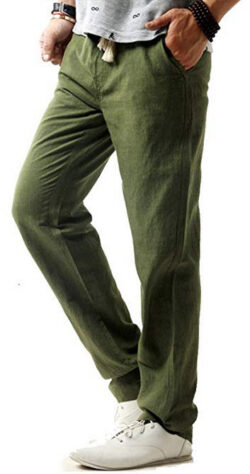 FASKUNOIE Men's Linen Casual Trousers Breathable Lightweight Loose Fit Straight Pants with ...