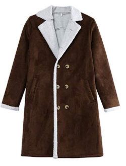 FengGa Men's Wool Jacket Warm Winter Lapel Trench Long Outwear Button Smart Breasted Overcoat Coat
