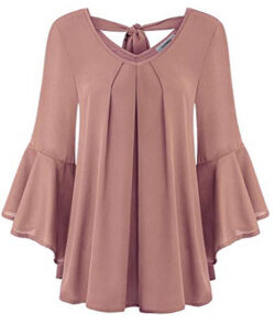 Finice Women's Cute V Neck 3/4 Bell Sleeve Pleated Front Chiffon Blouse, dark pink