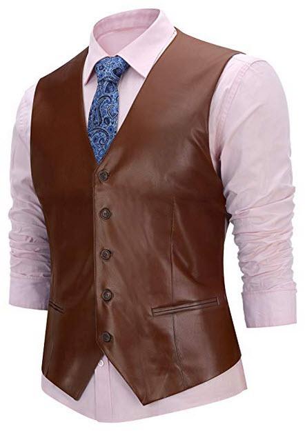 b9dd5e2c7a5e FISOUL Men's Suit Vest Faux Leather Slim Fit Casual Motorcycle Jacket Vests  coffee