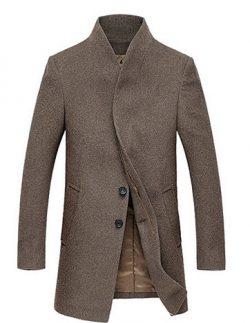 Fluorodine Men's Standard Collar Long Jacket Winter Trench Coat.