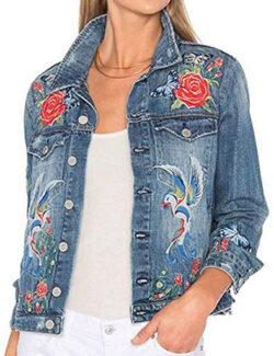Frozac New Spring Autumn Women's Flower Embroidered Denim Jacket blue