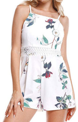 Geetobby Womens Floral Print Sleeveless Casual Boho Overlay Rompers Jumpsuit, white-3