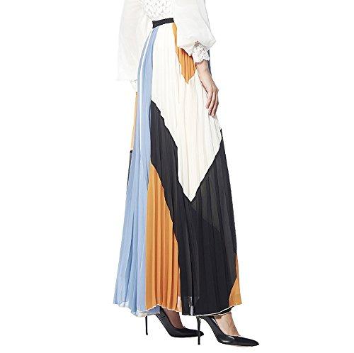 d184ac0f8d Gracia Color Block Pleated Maxi Skirt | FashionMeThat