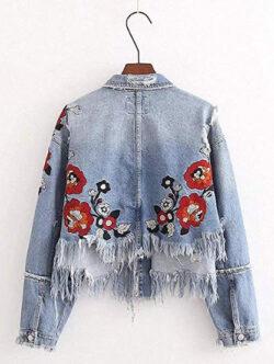 Hiuwa Womens Denim Jacket Sleeved Coats Embroidered Jacket