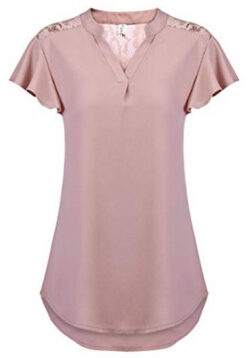 5624efff524bc9 Hount Women's V Neck Chiffon Ruffle Short Sleeve Shirts Casual Lace Blouse  Tops, ...