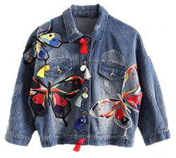 Huiwa Womens Denim Jacket colorful Butterfly Embroidery Jeans Jackets Patch Designs blue