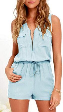 Imily Bela Womens V Neck Summer Cami Jumpsuits Zipper High Waisted Romper Playsuits, blue