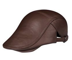 6a9f99f086ae0 Insun Men's Vintage Genuine Leather Newsboy Cap with Adjustable Buckle