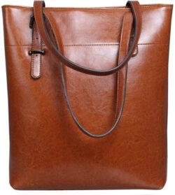 Iswee Vintage Leather Shoulder Bag Women Tote Handbag Ladies Designer Purse Bucket Bag, brown