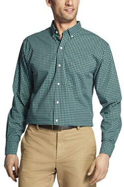 IZOD Men's Button Down Long Sleeve Stretch Performance Gingham Shirt beryl green
