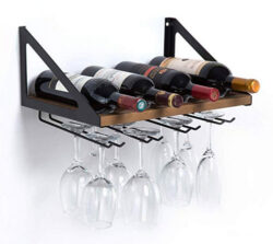 JackCubeDesign MK478A – Wall Mount Wine Rack with Glass Holder (Wood)