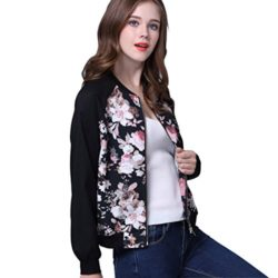 JEERISE Womens Tropical Floral Print Zip Up Light Weight Long Sleeve Casual Bomber Jacket Coat
